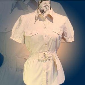 Beige collar button down blouse w/ attached belt